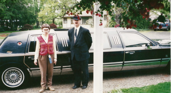 Lindsey Standing in Front of Limousine