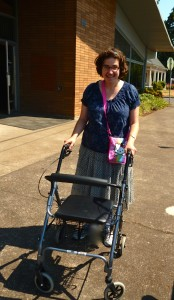 Lindsey and her new walker zipping through town